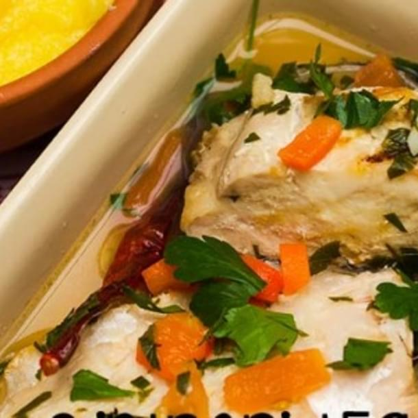 Romanian Carp File In Quick Brine With Vegetables And Polenta.
