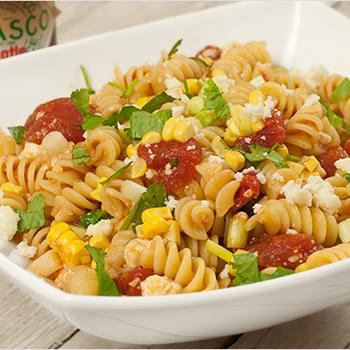 Pasta with Corn, Scallions and Chipotle-Tomato Sauce