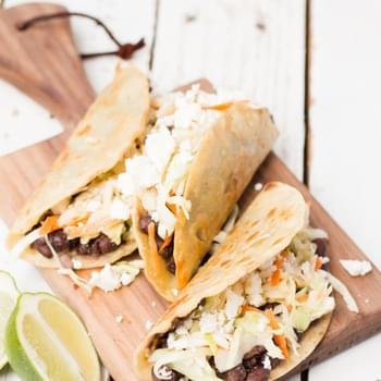 Crisp Black Bean Tacos with Feta and Cabbage Slaw