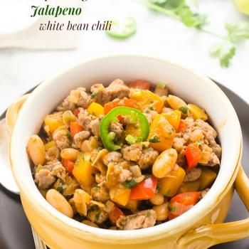 Turkey Sausage Jalapeño White Bean Chili