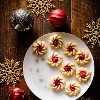 Cherry Vanilla Cream Cheese Spritz Cookies
