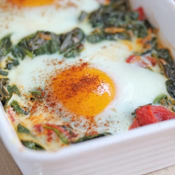 Baked Eggs with Spinach, Tomatoes and Garlic