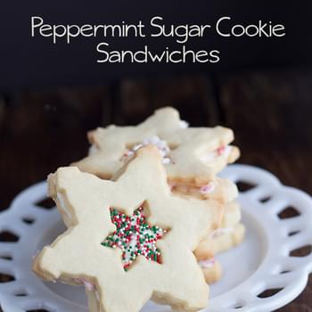 Peppermint Sugar Cookie Sandwiches