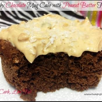 Healthy Chocolate Mug Cake with Peanut Butter Frosting