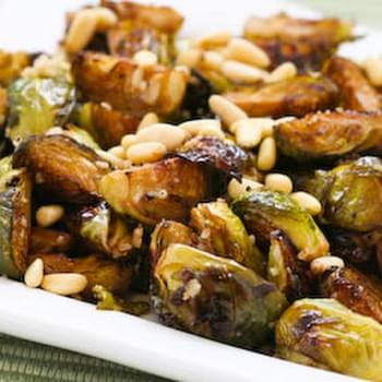 Roasted Brussels Sprouts Recipe with Balsamic, Parmesan, and Pine Nuts