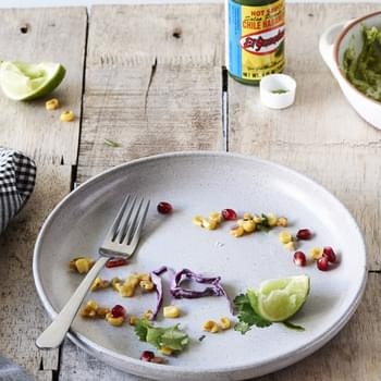 Tasty Tuesday · Chipotle Black Bean Tacos with Red Cabbage Slaw, Grilled Corn Salsa and Edamame Guacamole