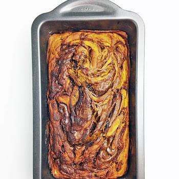 Pumpkin Banana Bread with Nutella Swirls