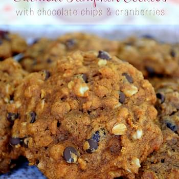 Oatmeal Pumpkin Cookies with chocolate chips and cranberries