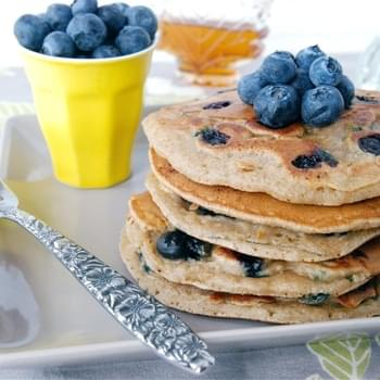 Honey & Oat Blueberry Lemon Pancakes