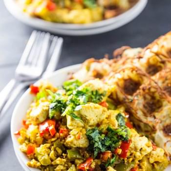 Garlicky Bell Pepper Tofu Scramble with Waffled Jalapeño Hash Browns