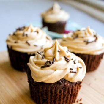 Fudge Brownie Cupcakes with Peanut Butter Frosting