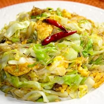 CABBAGE AND GLASS NOODLE STIR-FRY