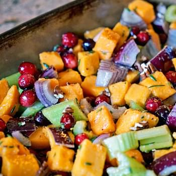 Roasted Butternut Squash Cranberries and Celery with Rosemary and Lime