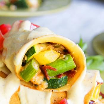 Bacon Feta Garden Vegetable Crepes with Greek Yogurt Hollandaise Sauce