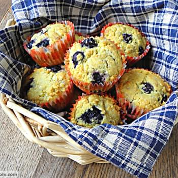 Blueberry Buttermilk Corn Muffins {No Sugar Added, Gluten Free}