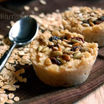 Maple Brown Sugar Oatmeal Pucks with Seeds and Raisin Topping