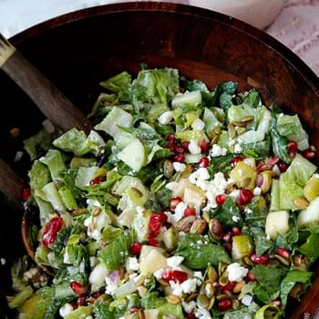 Pomegranate, Pear, Pistachio Salad with Creamy Pomegranate Dressing