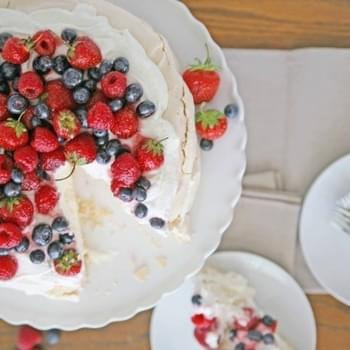 Red, White, and Blue Berry Pavlova
