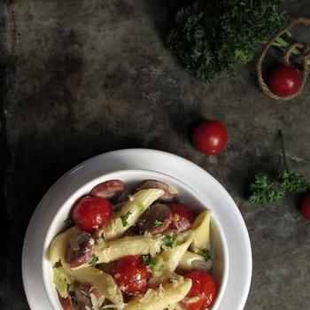 Pasta with Leeks, Cherry Tomatoes and Frankfurters