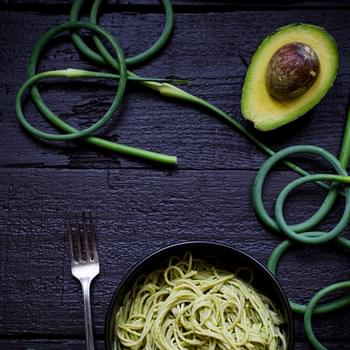 Creamy Avocado Pasta with Garlic Scape Pesto