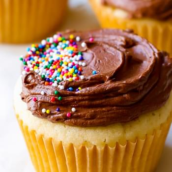 Moist Yellow Cupcakes with Milk Chocolate Frosting