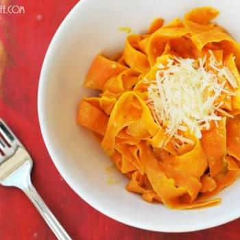 "Cheesy Sweet Potato ""Fettuccini"""