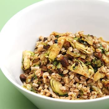 Farro with pan-roasted Brussels sprouts and pistachios