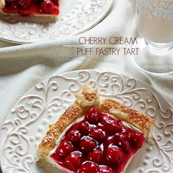 Cherry Cream Puff Pastry Tart