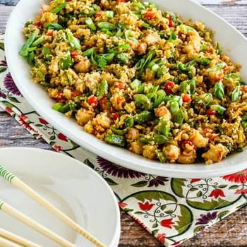 Fried Cauliflower Rice with Shrimp, Sugar Snap Peas, and Red Pepper