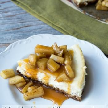 Vanilla Bean Cheesecake with Apples and Caramel