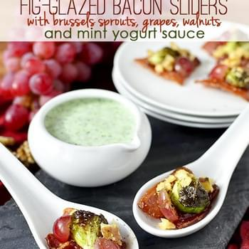 Fig-Glazed Bacon Sliders with Brussels Sprouts, Grapes, Walnuts and Mint Yogurt Sauce