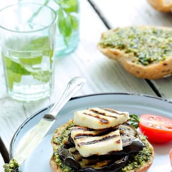 Grilled Eggplant Burgers with Halloumi Cheese