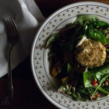 Baked Goat Cheese and Kabocha Squash Salad