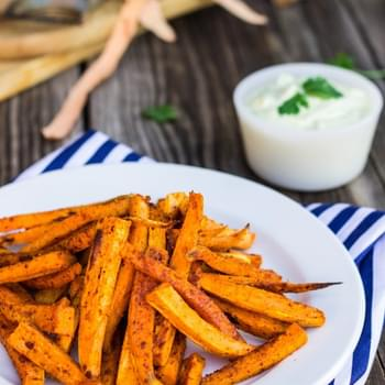 Baked Sweet Potato Fries with Curry Cilantro Mayo