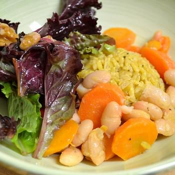Maple Carrots, White Beans And Spicy Greens With Warm Orange Vinaigrette