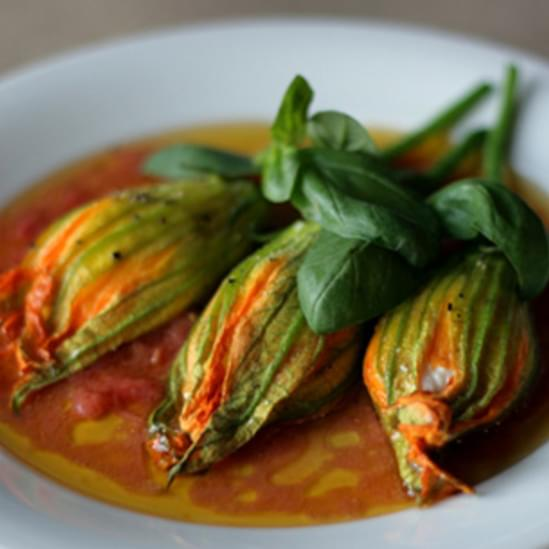 Ricotta-Stuffed Squash Blossoms with Tomato Vinaigrette