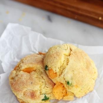 Sweet Honey Jalapeño Cheddar Cornbread Biscuits