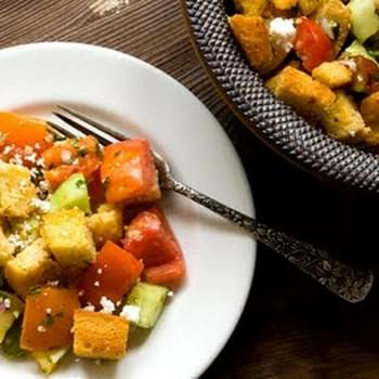 Tomato And Cucumber Salad With Cornbread Croutons