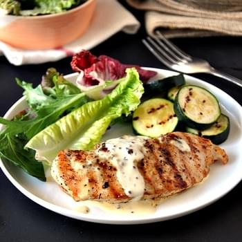 Grilled Chicken with Garlic, Whole Grain Mustard & Thyme Cream Sauce
