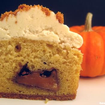Pumpkin Cupcakes with Rolos and Apple Cider Buttercream