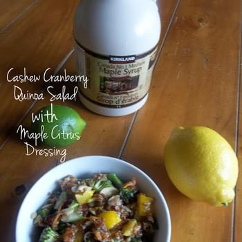 Cashew Cranberry Quinoa Salad with Maple Citrus Dressing (Gluten Free/ Dairy Free/ Vegan Option)