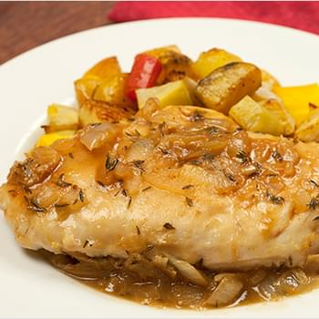 Chicken With Roasted Garlic, Lemon And Thyme Sauce
