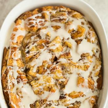 Cinnamon Roll Bread Pudding Breakfast Casserole