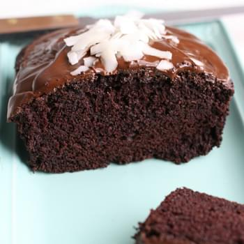 Vegan Chocolate Coconut Cake with Rich Chocolate Glaze.
