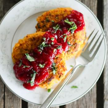 Butternut Squash Quinoa Patties with Cranberry Orange Sauce