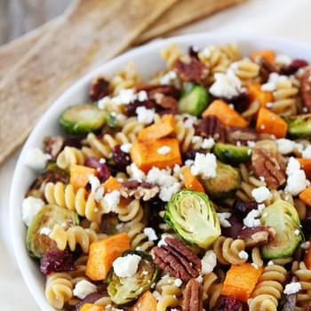 Brown Butter Pasta with Sweet Potatoes and Brussels Sprouts