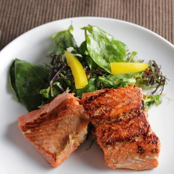 Asian Greens with Pan Seared Salmon