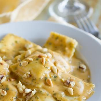 Ravioli with Pumpkin Alfredo