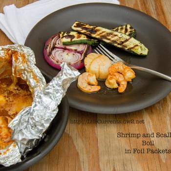 Shrimp and Scallop Boil in Foil Packets