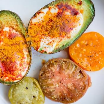 Three Ingredient Moroccan Eggs in Avocado